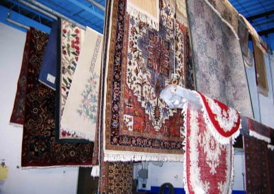 Oriental rugs hung to dry